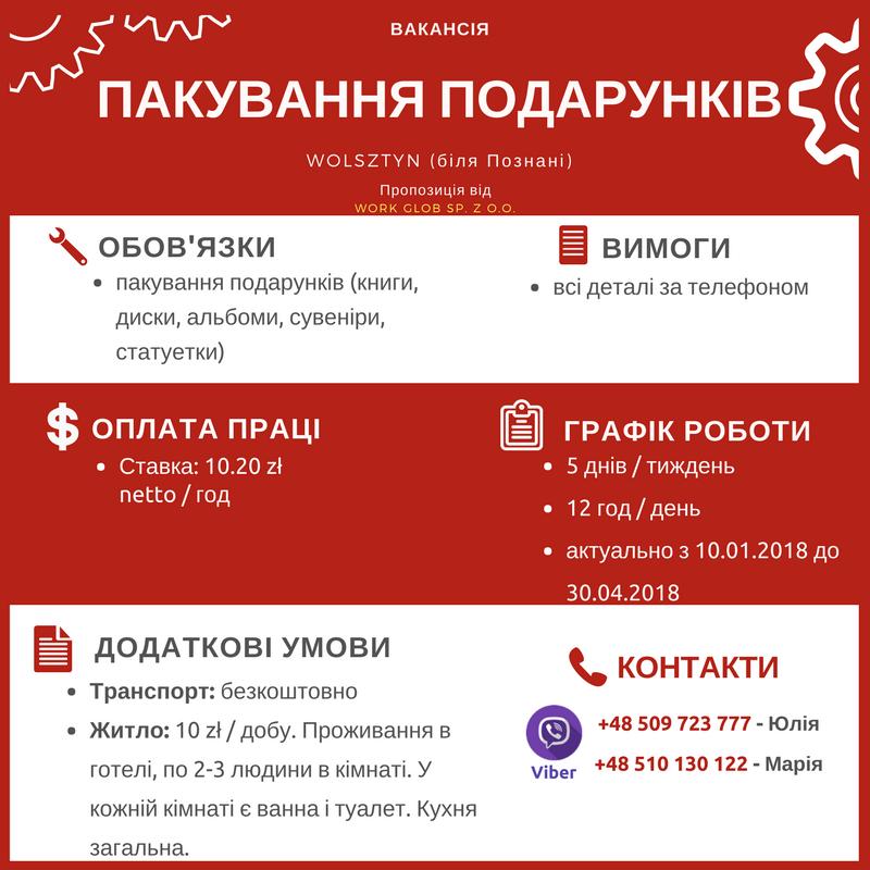 Безкоштовні вакансії роботи в Польщі для українців 72fcd6557fa12