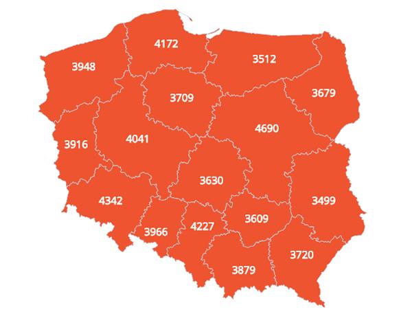 зарплати в польщі по воєводствах