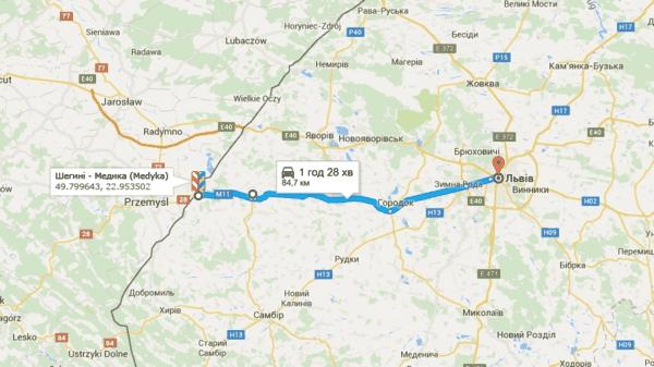 Автомобильный и пеший таможенный переход Шегини - Медика (Medyka) с Польшей