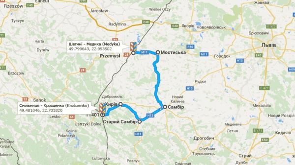 Пункт пропуска Смильница - Кросценко (Kroscienko) Польши, переезд с таможенного перехода Смильница - Шегини