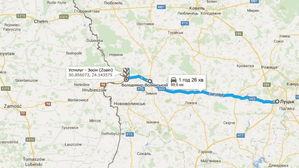 Пункт пропуска Устилуг – Зосин (Zosin) пересечение границы Польши автомобилем